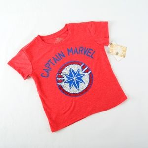 Marvel Boys XS 4-5 Sequined Red Tee Shirt NEW